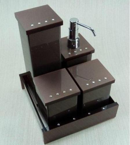 Kit Para Banheiro Em Acrílico : Kit potes para banheiro em acr?lico chocolate com strass