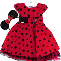 Vestido Minnie Vermelho Joaninha Infantil Luxo Com Tiara