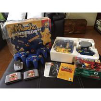 Nintendo 64 De Pikachu En Caja Con Controles Extra Y Pokemon