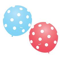 Balão Latex Nº9 Azul E Rosa Poá Branco - Bexiga Bolinha 50u
