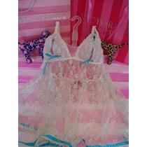 Victorias Secret The Lace Bridal Baby Doll Pezonero Sz S