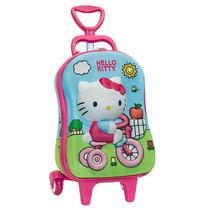 Mochila Infantil C/ Rodinhas 3d Hello Kitty Pré Escolar
