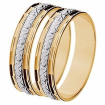 Par Aliança Casamento Abaulada Bodas Prata Ouro 18k-gf15037