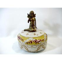 Porta-jóias Com Escultura Anjo Porcelana Europeia E Bronze