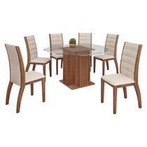 Conjunto De Mesa 1,40m Quadrado Alphaville Com 8 Cadeiras Lu