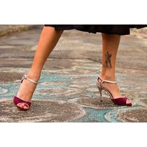 Zapatos De Baile Tango Gamuza Obispo Con Plata