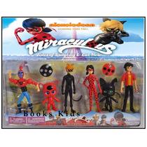 6 Bonecos Miraculous Ladybug Cartela De Miniaturas