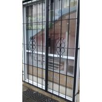 Puerta Balcon Aluminio Blanco 150 X 200 Con Vidrios + Reja