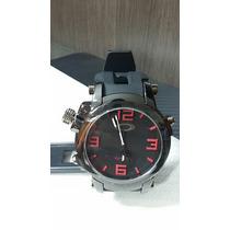 Relógio Masculino Esporte De Luxo Oakley Gearbox Preto Verme