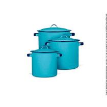 Juego De Ollas Ideal Azul Turquesa 6 Pzs Peltre