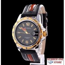 Relógio Original Curren Quartz Aço Inoxidável Pulseira Couro