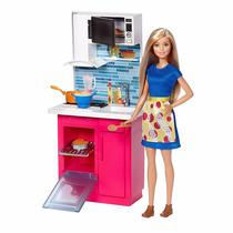 Barbie Cozinha Fogão Linha 2017 Com Boneca Casa Moveis