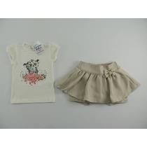 Conjunto Bebê Menina Planeta Pano Com Shorts-saia 9/12 Meses
