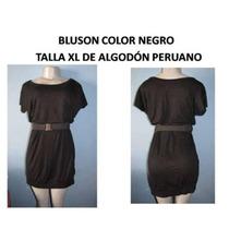 Vestido Bluson Negro Algodon Talla Xl Plus Gordita Bella