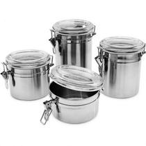 Kit 4 Potes Herméticos Para Mantimento Redondos Em Aço Inox
