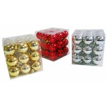 Bola De Natal Vermelha, Dourada Ou Prata 4cm Caixa 27 Peças