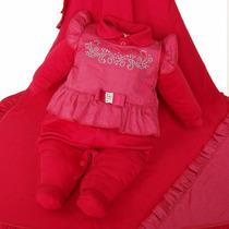Saída De Maternidade Paraiso Vermelho Feminina Maquinetado
