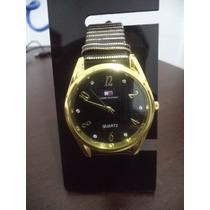 Relógio Feminino Tommy Coroa Dourado Redondo Visor Preto