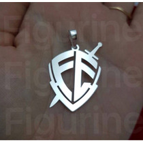 Pingente Escudo De Fé Médio Em Prata 925