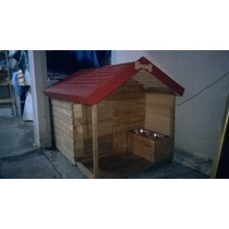 Casas De Madera Para Mascota (pet House) Jumbo Con Tazones