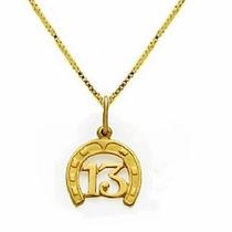 Pingente Ferradura Ouro 18k E Corrente Veneza Feminina V,i