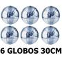 6 Globos Espelhado 30cm Diametro Dj Festa Evento Iluminação