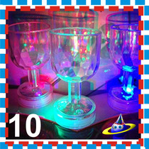 10 Copitas Led Copa One Shoot Luminosa Boda Xv Vaso Fiesta