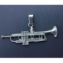 Dije De Trompeta En Plata Pura Ley.925 Sterling Silver