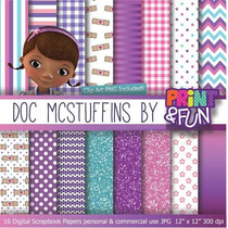 Itens Kit Digital Editavel Scrapbook Roxo Doc Mc Stuffins