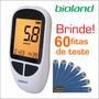Medidor De Glicose Bioland + Lancetador + Lanceta + 60 Fitas