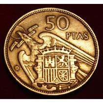 Moeda Espanha, 50 Pesetas 1957, Belo Belo E Raro Exemplar