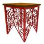 Banco De Ferro Artesanal Decorativo Madeira Rustica Vermelho