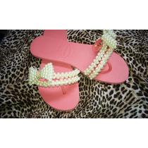 Sandálias Chinelos Feminino Decorados Rosa