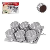 Kit C/ 4 - Porta Temperos Em Aço Inox Com Imã 6 Potes Cada