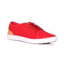 Trender Tenis Color Rojo, Suela Blanca Y Cordones Ajustables