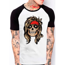 Camiseta Raglan Caveira Guns N Roses Rock N Roll 384