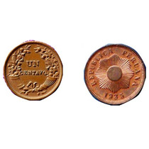 Moneda Peruana De 1 Centavo Años 1935 1944 1945