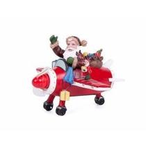 Figura Navideña Avion Santa Claus