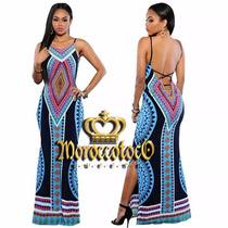 Vestido Largo Azteca Verano Seda Fria Importado Art 3913a