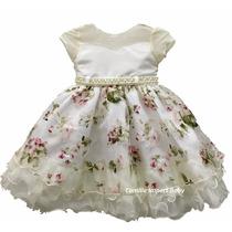 Vestido Infantil Festa Infantil Rosa Floral Com Tiara