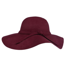Sombrero Ala Larga Vintage Hipster Paño Color Vino