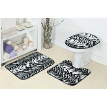 Jogo Tapete De Banheiro Safari 03 Peças - Onça Ou Zebra