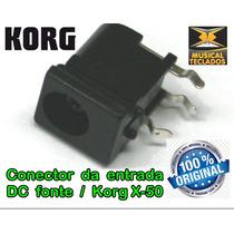 Conector De Entrada Da Fonte Teclado X50 Korg Original Novo