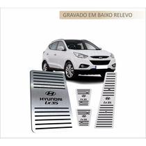 Pedaleiras + Descanso Aço Inox Premium Hyundai Ix 35 Manual