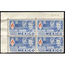 2650 México Derechos Humanos Aéreo Block 4 80c Mint N H 1964