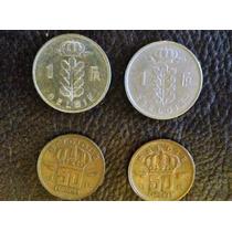 4 Monedas Belgica De 50 Centavos Y 1 Franco 1956-1966