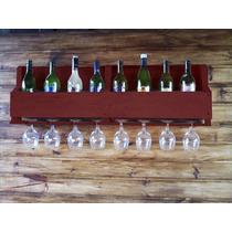 Suporte Vinho Madeira 9 Garrafas Porta Taças