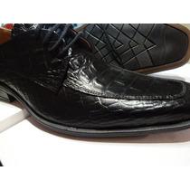Calzado Cuero Negro Croco Italiano De Oferta Hot!!!!