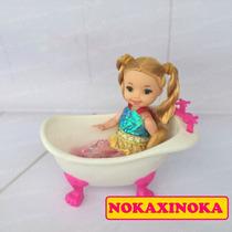 Banheira Com Boneca Bebê Estilo Kelly * Irmã Da Barbie