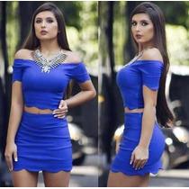 Conjunto Saia Blusa Feminina Cropped Nuvem + Blazer Renda